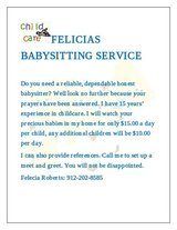 babysiter Available in Hinesville, Georgia