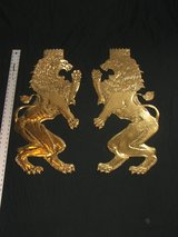 Vintage Brass Royal Lion Large (Shield size) Matching Pair in Naperville, Illinois