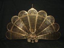 Brass Fireplace Screen Peacock Fan Style with Griffin Guard in Glendale Heights, Illinois