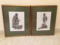 Paul Geissler Etchings - 2 Framed and Matted Pictures in Cherry Point, North Carolina
