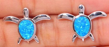 New - Turtle Blue Opal Stud Earrings in Alamogordo, New Mexico