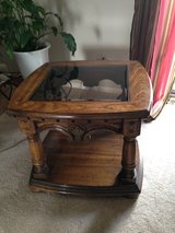 Solid Oak End Table With Glass Top and Bottom Shelf in Elgin, Illinois