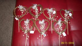 Heart Shaped Grapevine Sticks with Pearls in Camp Lejeune, North Carolina