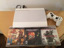 PS3 white with 2 controllers and 2 games. Minecraft was sold! in Ramstein, Germany