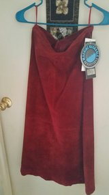 Claret Red suede skirt in Fort Irwin, California