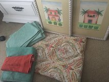 World Market shower curtain matching bath mats, towels and 2 framed pictures lot set in Beaufort, South Carolina