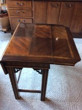 Wooden accent table in Yorkville, Illinois