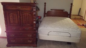 Chest of drawers and Sleep number Queen bed with adjustable base with headboard in Algonquin, Illinois