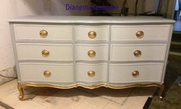 "Dresser. serpentine fronts. white gray and a touch of brassy gold. ""great quality"" in Morris, Illinois"