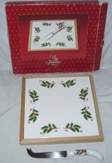 All the Trimmings Tile Trivet w/ Cheese Knife Christmas Serving Piece Holly / Berries Pattern in Kingwood, Texas