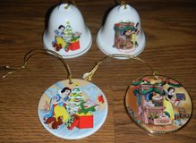 Snow White Grolier Christmas Ornament Lot Bell + Snow White's Surprise & Christmas Dreams in Houston, Texas