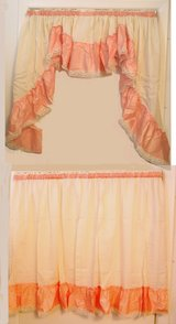 "NEW Super Wide Peach & Beige Swag Topper & 36"" Long Tier Curtain Set Made in USA in Wilmington, North Carolina"