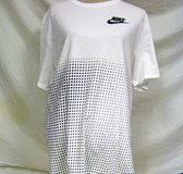 Nike White Black Dots Swoosh Short Sleeve XXL 2XLMen's Knit T-Shirt Casual in Kingwood, Texas