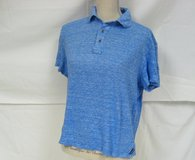 Women's Michael Kors Med Blue White Linen Cotton Polo Knit Top Blouse Medium in Kingwood, Texas