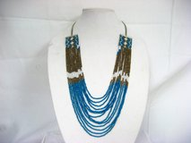 "Blue Brown Bead 32"" Silver Tone Statement Chain Pendant Choker Multi Strand Native American Indi... in Kingwood, Texas"