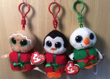 3 TY Mini Christmas Baby Beanies Clip Ornament Lot Beanie Boos Boo - CHILL, SHIVERS & SWEETSY in Kingwood, Texas