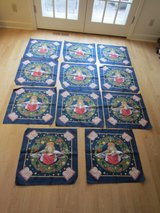 "11 Christmas Bandanas: Angel on Blue w/ Stars, Wreath & Bible Print, 21"" Fabric Squares - Quilt ... in Brookfield, Wisconsin"