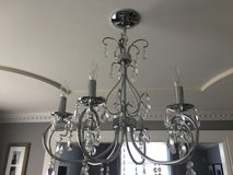 Chandelier- chrome color,6 light,crystal. Great condition ! in Naperville, Illinois