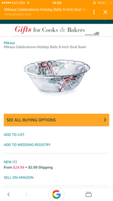 New Mikasa celebrations holiday oval bowl in Ramstein, Germany