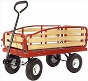 Wooden & Steel Frame Red Wagon in Kingwood, Texas