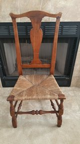 American 18th Century Antique Side Chair with Rush Seat in Tinley Park, Illinois