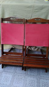Pair Vintage Wood Folding Canvas Back Chairs in Kingwood, Texas