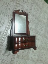 Vintage Two Drawer Shaving Dresser With Mirrors Wood Vanity Mirror Cosmeti Vintage Jewelry Box in Kingwood, Texas