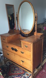 Antique Oak Dresser and Vanity with Mirror - Circa 1888 in Ramstein, Germany