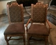 2 large wooden cushioned chairs in Pasadena, Texas