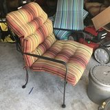 Set of 2 new iron patio chairs. New cushions in Pasadena, Texas