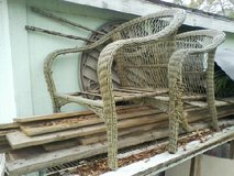 2 WICKER COVERED METAL LAWN CHAIRS in Baytown, Texas