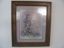 Framed picture of mailbox & wagon wheel in DeKalb, Illinois