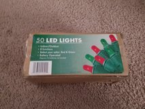 50 led red and green battery operated Christmas lights, new in Naperville, Illinois