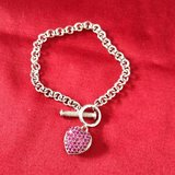 Designer Sterling Silver Pink Heart Tag Bracelet in Elgin, Illinois