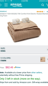 King size tan khaki heated blanket in Beaufort, South Carolina