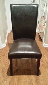 Brown leather parsons chair in Naperville, Illinois