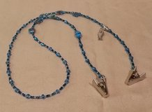 Eye Glass Holder, Blue Theme Glass Beads with Fish Charm, with Grip Clips in 29 Palms, California