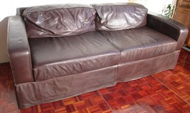 Dark Brown Leather Couch and Chair in Ramstein, Germany