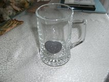 """beer mug with tin picture """"head of a roman warrior"""" in Ramstein, Germany"""
