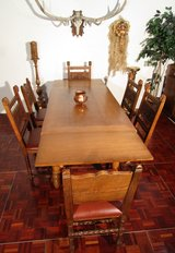 Antique German Knights Table and Chairs with Coats of Arms in Ramstein, Germany