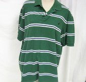 Men's Ralph Lauren Polo Green Blue Striped XXL 2XL Collar Button Up Short Sleeve in Kingwood, Texas