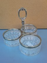 3 piece glass bowls and silver trim in Fort Riley, Kansas