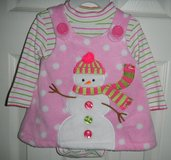 Bonnie Baby Girl's Snowman Christmas Holiday Pink Dress Size 3-6 Months Polka Dot in Kingwood, Texas
