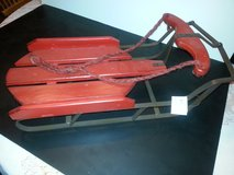 NWT!! Brick-Red Old Fashioned Wood and Iron Doll/Teddy Bear Sled in Bartlett, Illinois