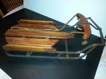 NWT!! Rustic Brown Old Fashioned Wood and Iron Doll/Teddy Bear Sled in Glendale Heights, Illinois
