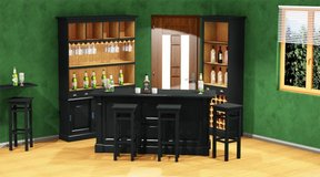 Bar Group - Large Bar Back - Bar Counter - 3 Bar Pub Stools - including Delivery Italy in Aviano, IT