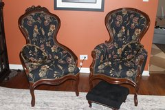 2 Antique Chairs with foot stool and pillows in Orland Park, Illinois
