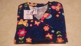 Scrub Top with Butterfly Design - XL - NWT in Joliet, Illinois
