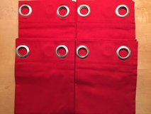 "4 NEW Garnet Hill Red Cotton Canvas Grommet Top Curtain Panels 42"" W X 84"" L in Glendale Heights, Illinois"