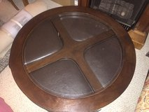COFFEE TABLE WITH 4 LEATHER AND WOOD STOOLS in Schofield Barracks, Hawaii